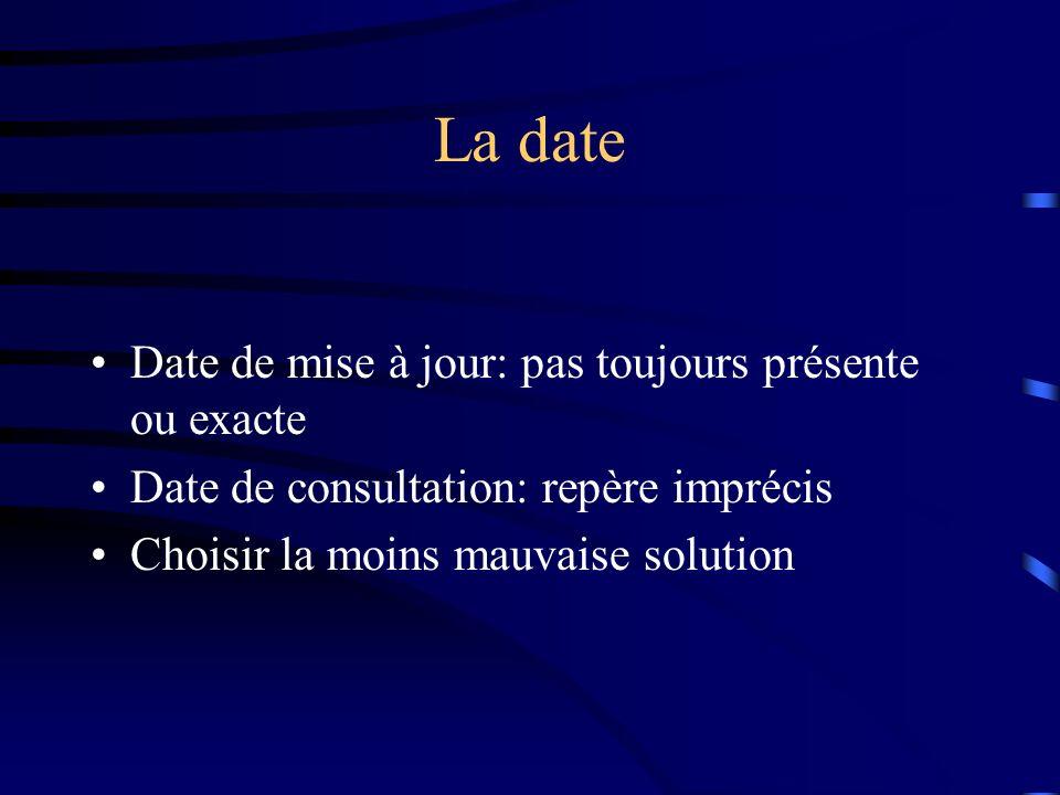 La date Date de mise à jour: pas toujours présente ou exacte Date de consultation: repère imprécis Choisir la moins mauvaise solution