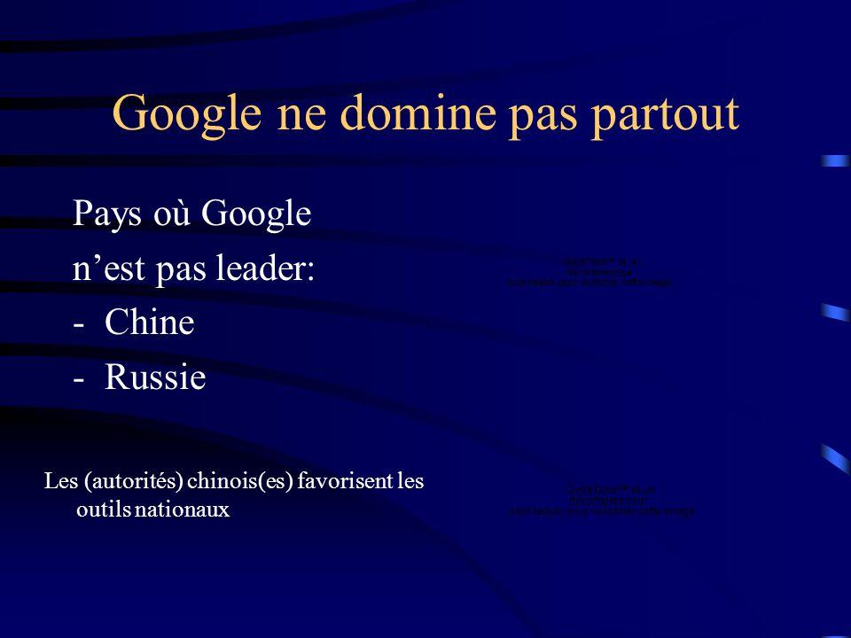 Google ne domine pas partout Pays où Google nest pas leader: -Japon -Corée du Sud Les japonais préfèrent les portails Les Coréens préfèrent questions-réponses