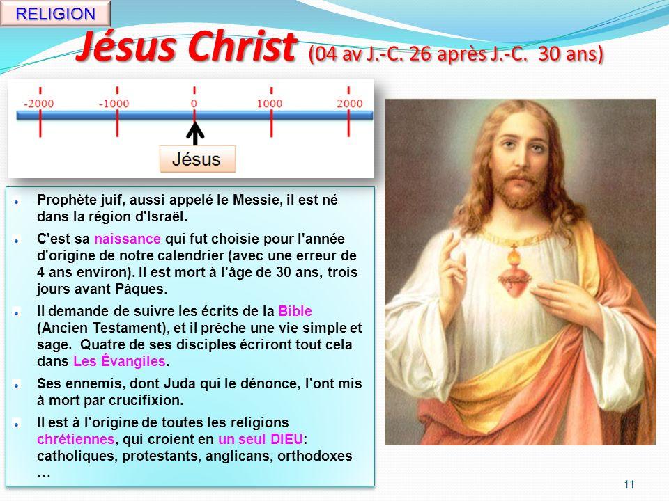 Jules César (100-44 av J.-C. 56 ans) 10 CHEF Empereur romain.