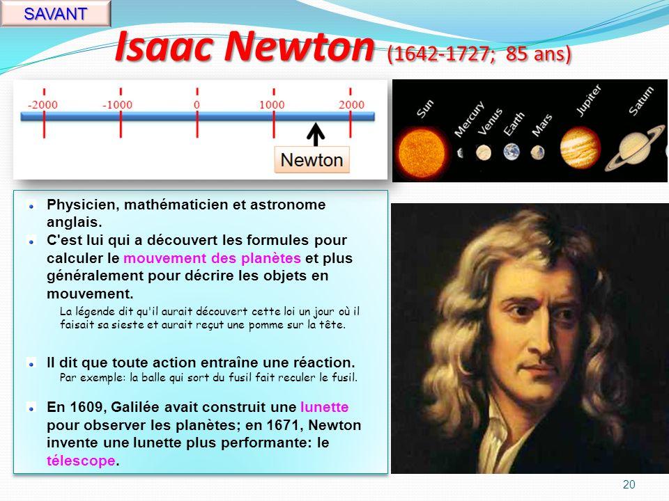 Blaise Pascal (1623-1662; 39 ans) 19 SAVANT Mathématicien, physicien, philosophe et écrivain français.