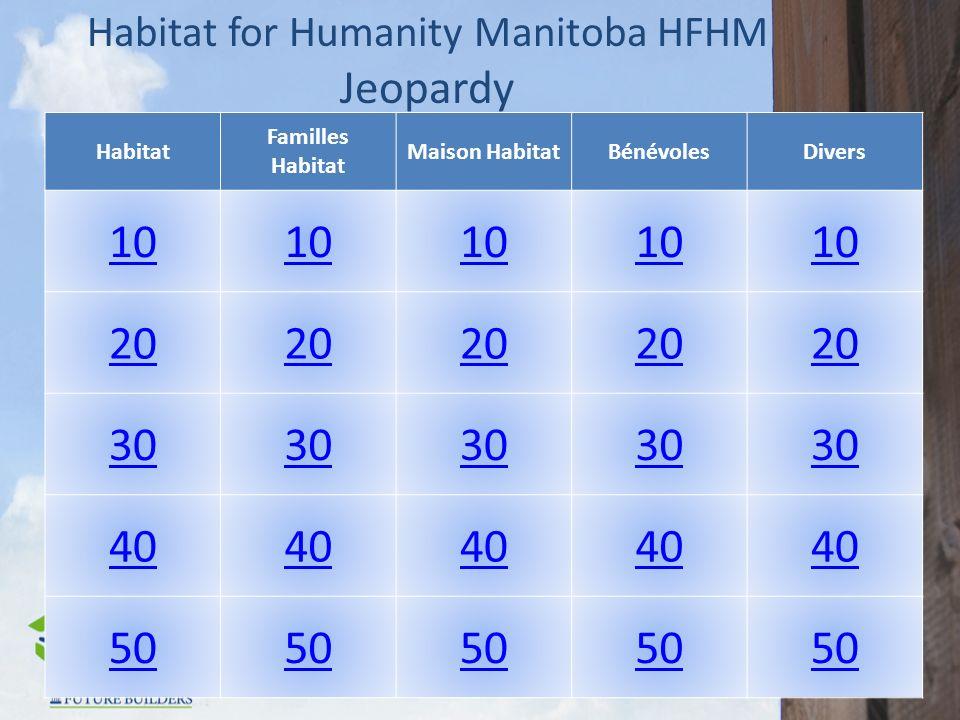 Habitat for Humanity Manitoba HFHM Jeopardy Habitat Familles Habitat Maison HabitatBénévolesDivers 10 20 30 40 50