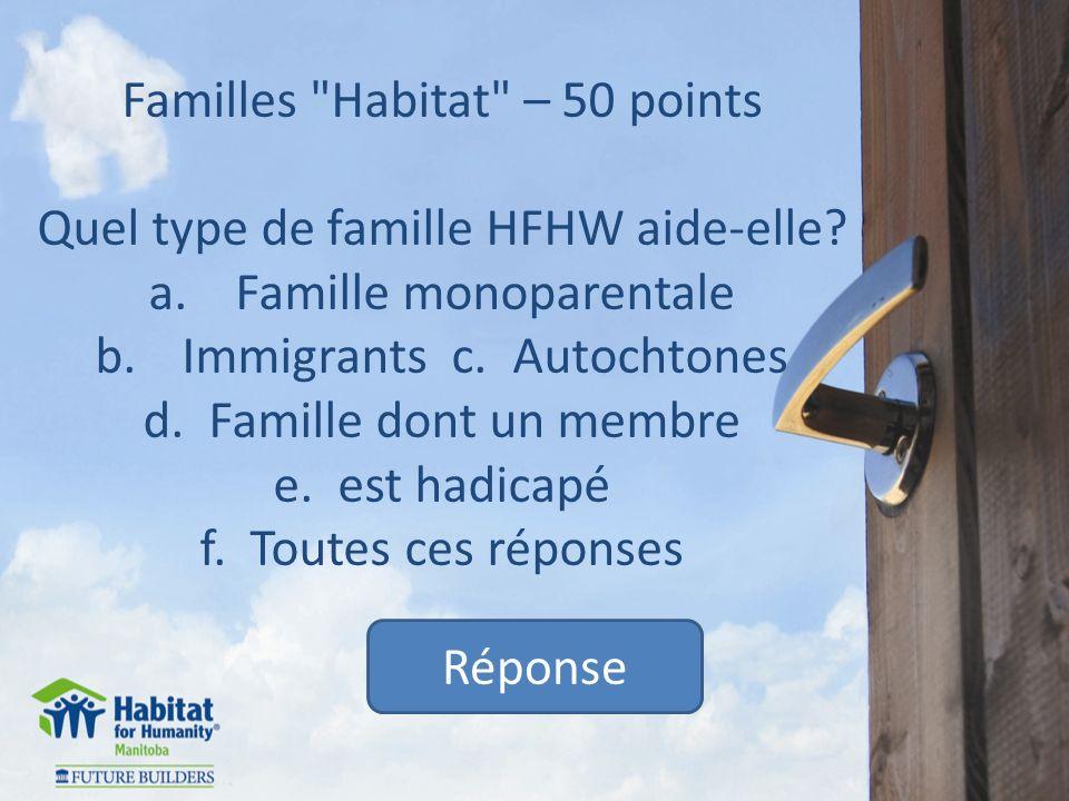 Familles Habitat – 50 points Quel type de famille HFHW aide-elle.