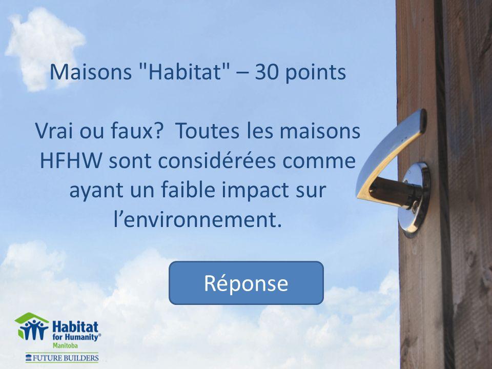 Maisons Habitat – 30 points Vrai ou faux.