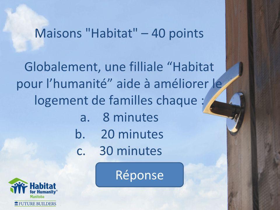 Maisons Habitat – 40 points Globalement, une filliale Habitat pour lhumanité aide à améliorer le logement de familles chaque : a.8 minutes b.
