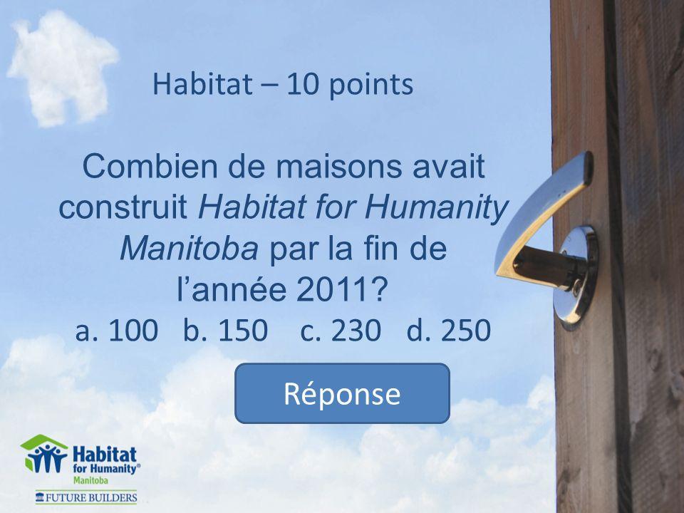 Habitat – 10 points Combien de maisons avait construit Habitat for Humanity Manitoba par la fin de lannée 2011.