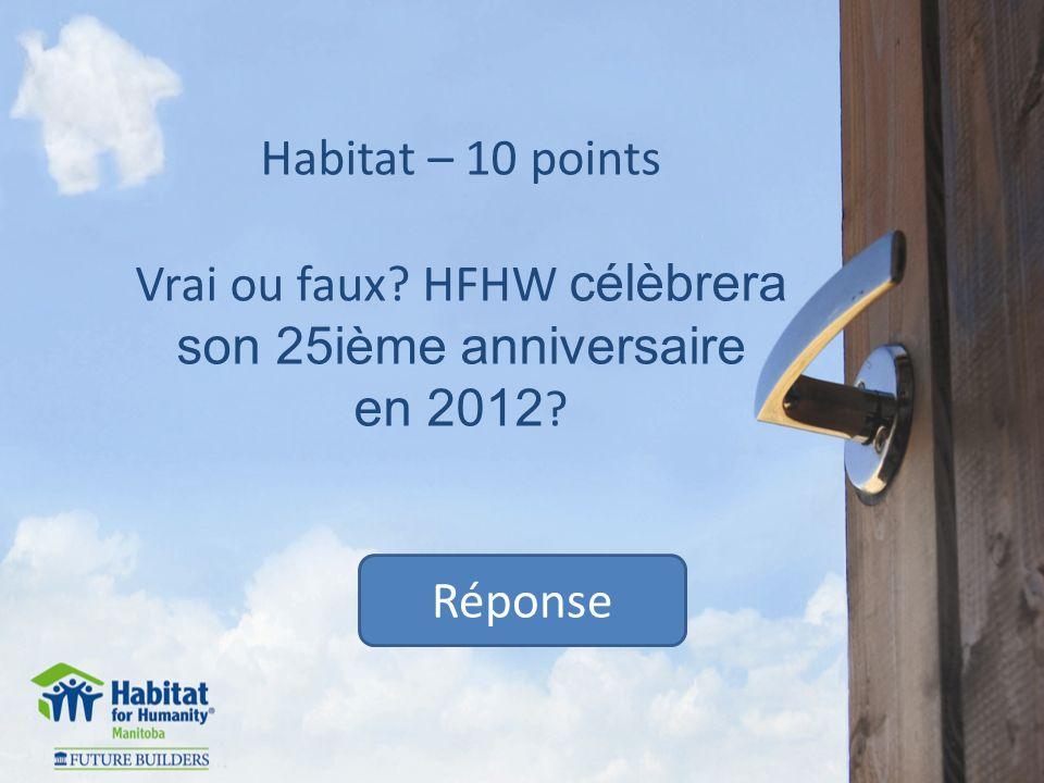 Habitat – 30 points Vrai ou faux.Être logé adéquatement est un des droits fondamental de lHomme.