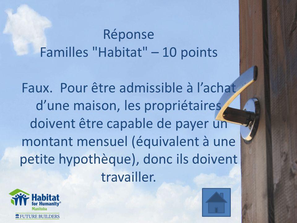 Réponse Familles Habitat – 10 points Faux.
