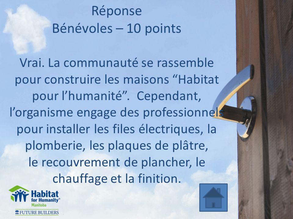 Réponse Bénévoles – 10 points Vrai. La communauté se rassemble pour construire les maisons Habitat pour lhumanité. Cependant, lorganisme engage des pr