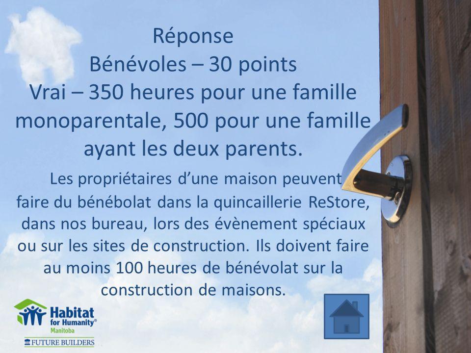 Réponse Bénévoles – 30 points Vrai – 350 heures pour une famille monoparentale, 500 pour une famille ayant les deux parents.