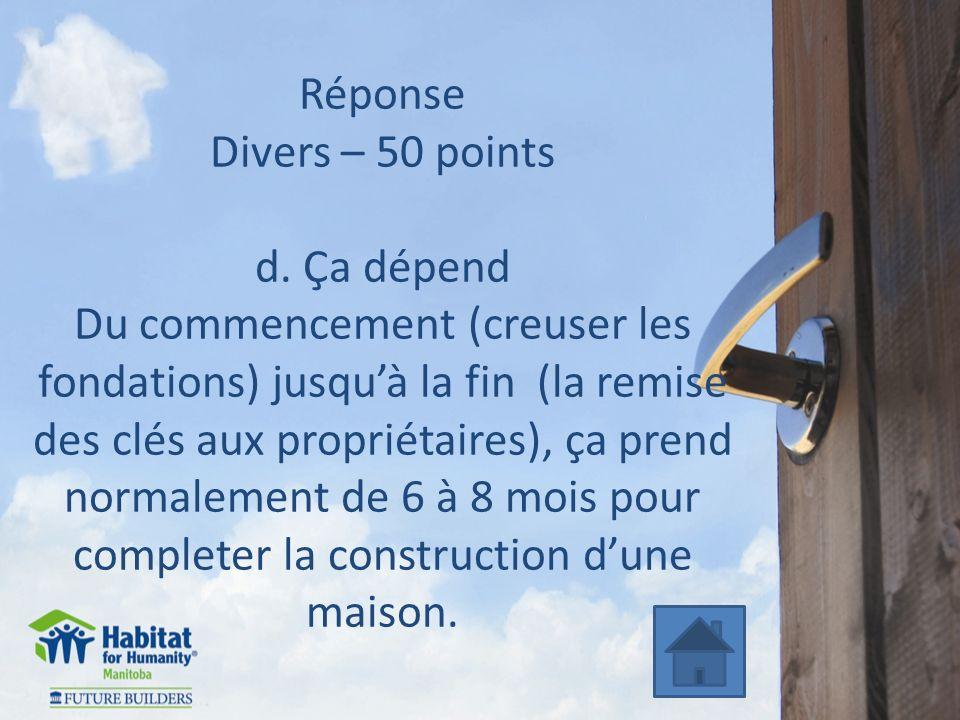 Réponse Divers – 50 points d.