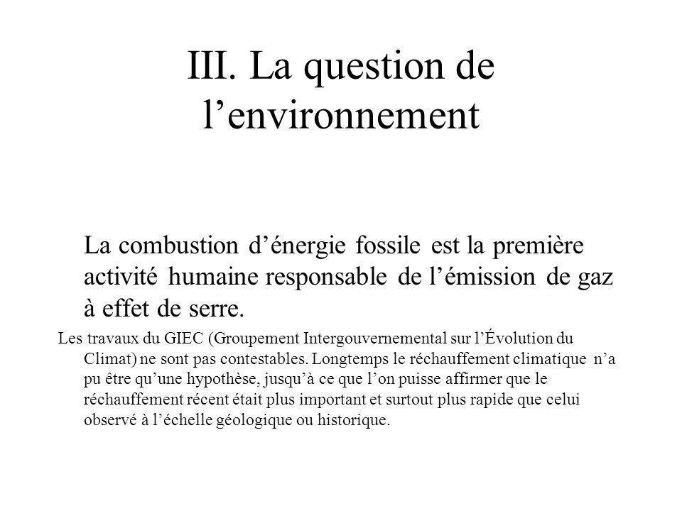 III. La question de lenvironnement La combustion dénergie fossile est la première activité humaine responsable de lémission de gaz à effet de serre. L