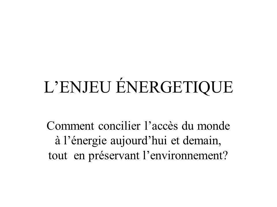 LENJEU ÉNERGETIQUE Comment concilier laccès du monde à lénergie aujourdhui et demain, tout en préservant lenvironnement?