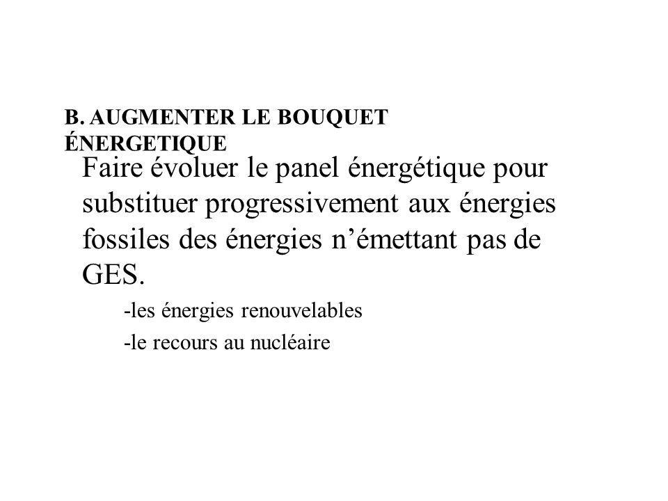 B/AUGMENTER LE BOUQUET ENERGETIQUE : il ny a pas de solution unique, globale.