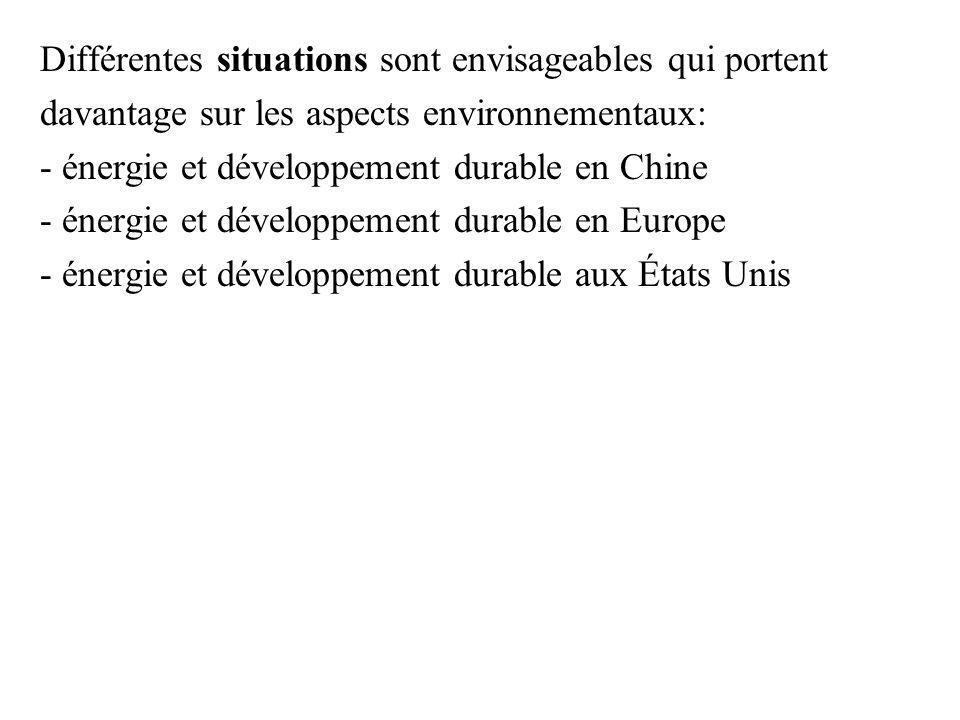 Différentes situations sont envisageables qui portent davantage sur les aspects environnementaux: - énergie et développement durable en Chine - énergie et développement durable en Europe - énergie et développement durable aux États Unis