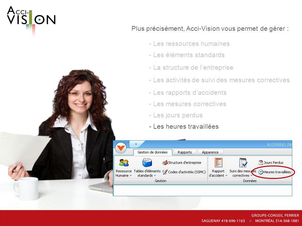 Plus précisément, Acci-Vision vous permet de gérer : - Les ressources humaines - Les éléments standards - La structure de lentreprise - Les activités