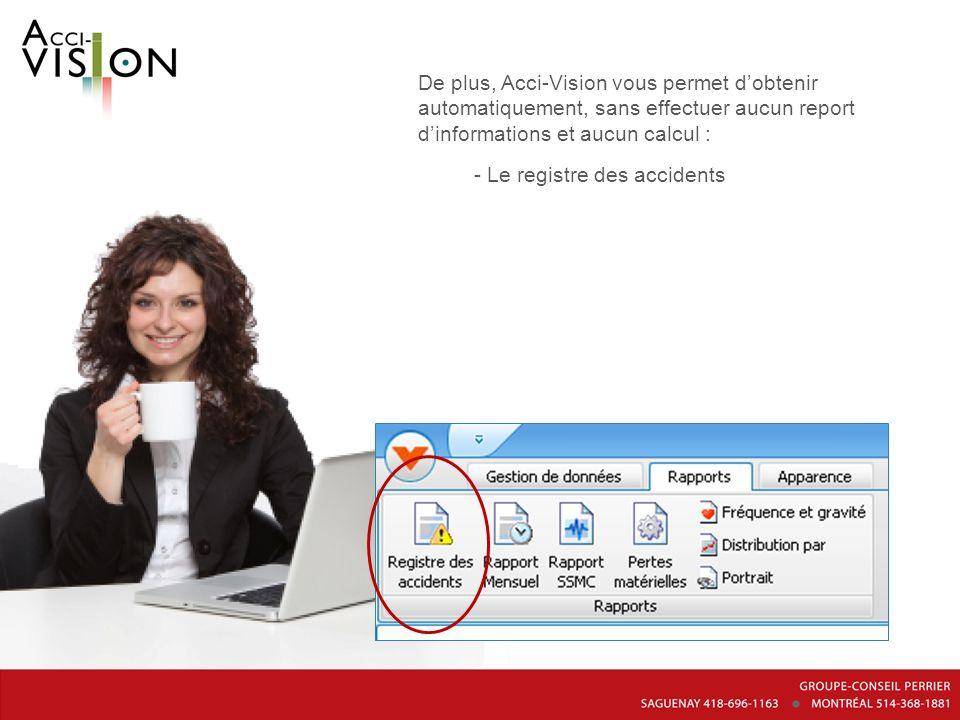 De plus, Acci-Vision vous permet dobtenir automatiquement, sans effectuer aucun report dinformations et aucun calcul : - Le registre des accidents