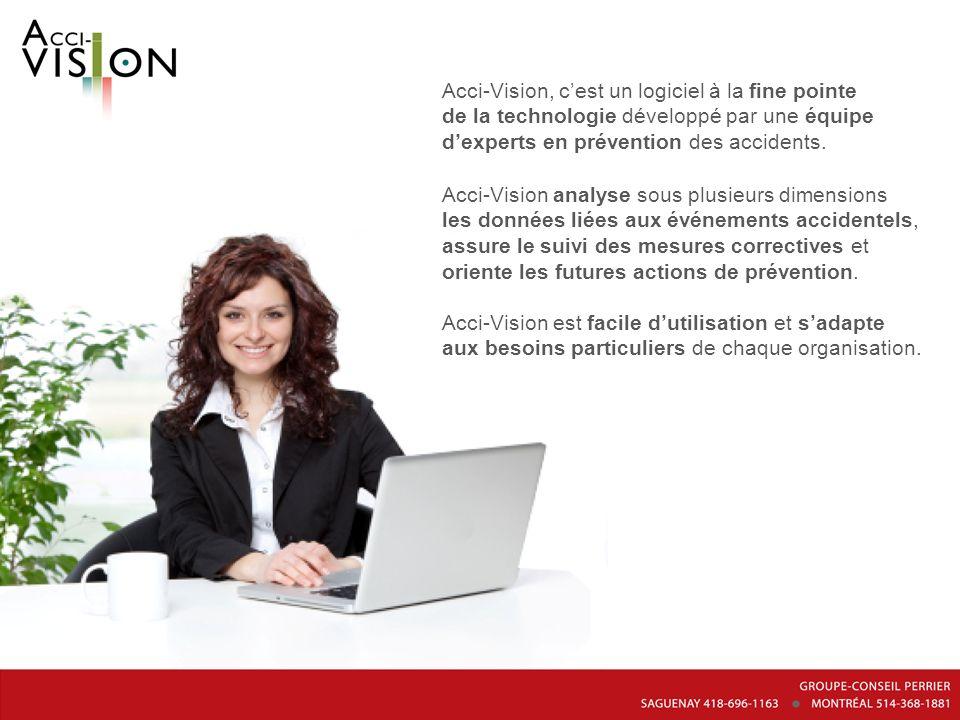 Acci-Vision, cest un logiciel à la fine pointe de la technologie développé par une équipe dexperts en prévention des accidents. Acci-Vision analyse so