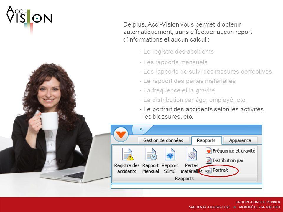 De plus, Acci-Vision vous permet dobtenir automatiquement, sans effectuer aucun report dinformations et aucun calcul : - Le registre des accidents - L