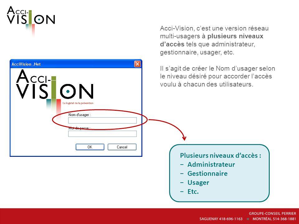 Acci-Vision, cest une version réseau multi-usagers à plusieurs niveaux daccès tels que administrateur, gestionnaire, usager, etc. Il sagit de créer le