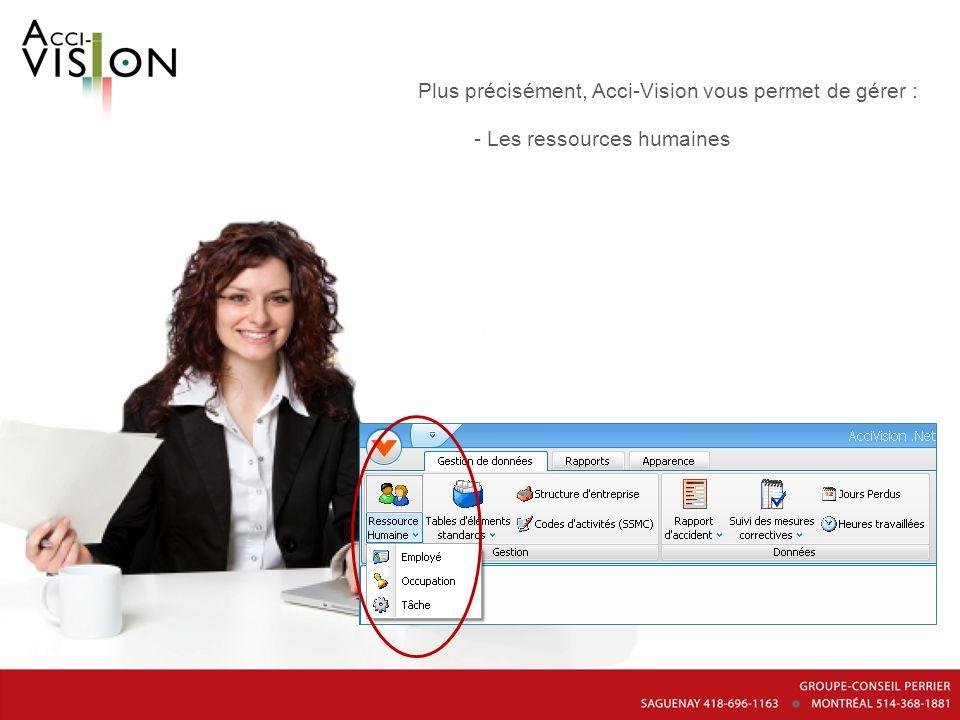 Plus précisément, Acci-Vision vous permet de gérer : - Les ressources humaines