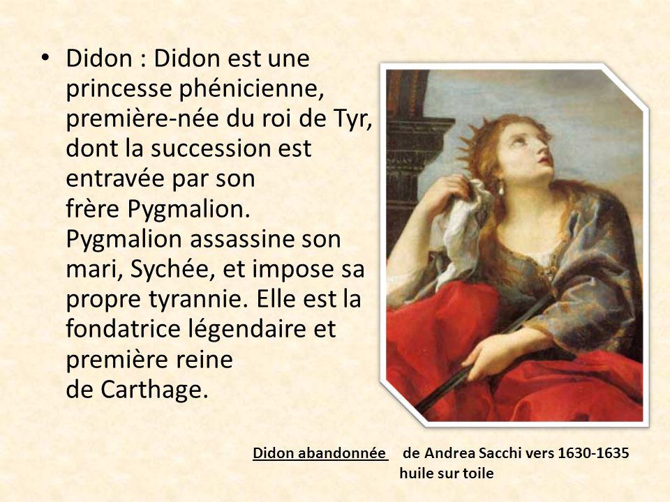 Enée : Il est le fils du mortel Anchise et de la déesse Vénus, est un des héros de la guerre de Troie.