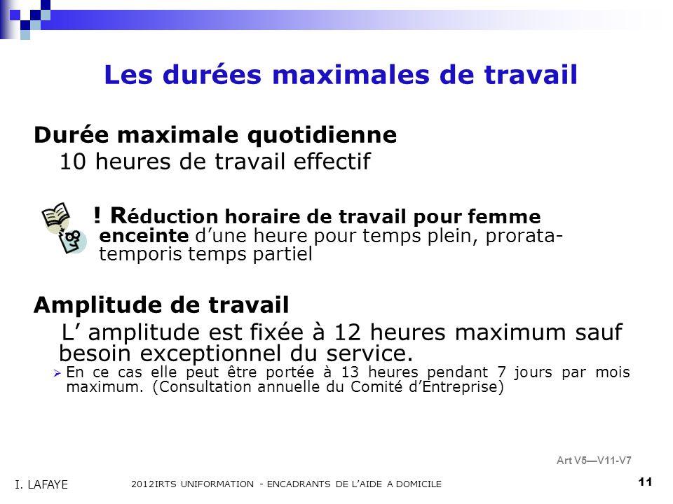 Les durées maximales de travail Durée maximale quotidienne 10 heures de travail effectif .