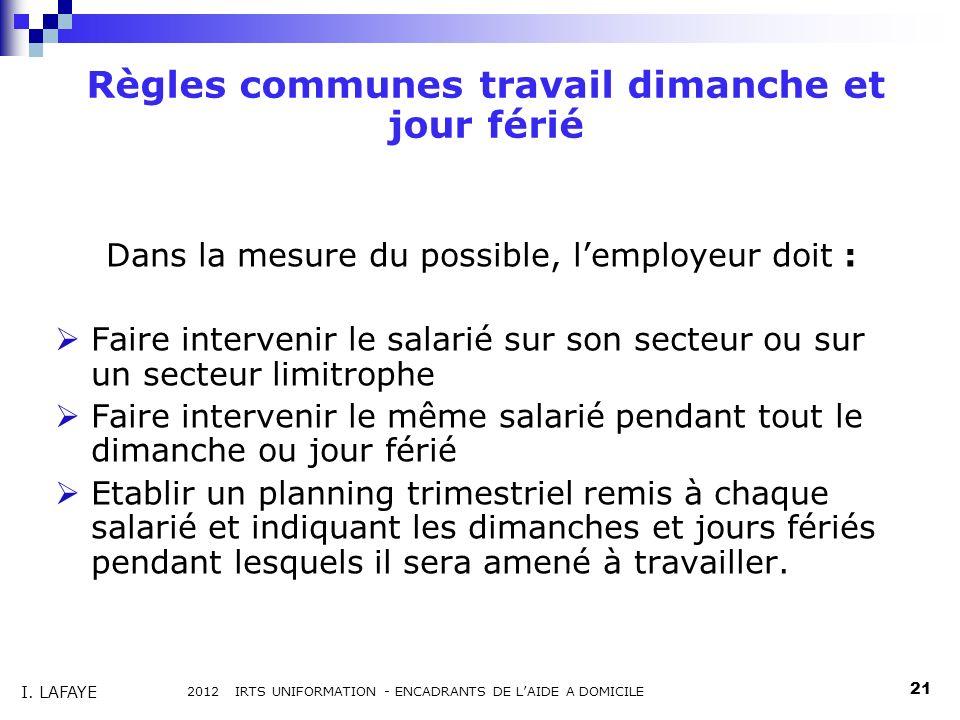Règles communes travail dimanche et jour férié Dans la mesure du possible, lemployeur doit : Faire intervenir le salarié sur son secteur ou sur un sec