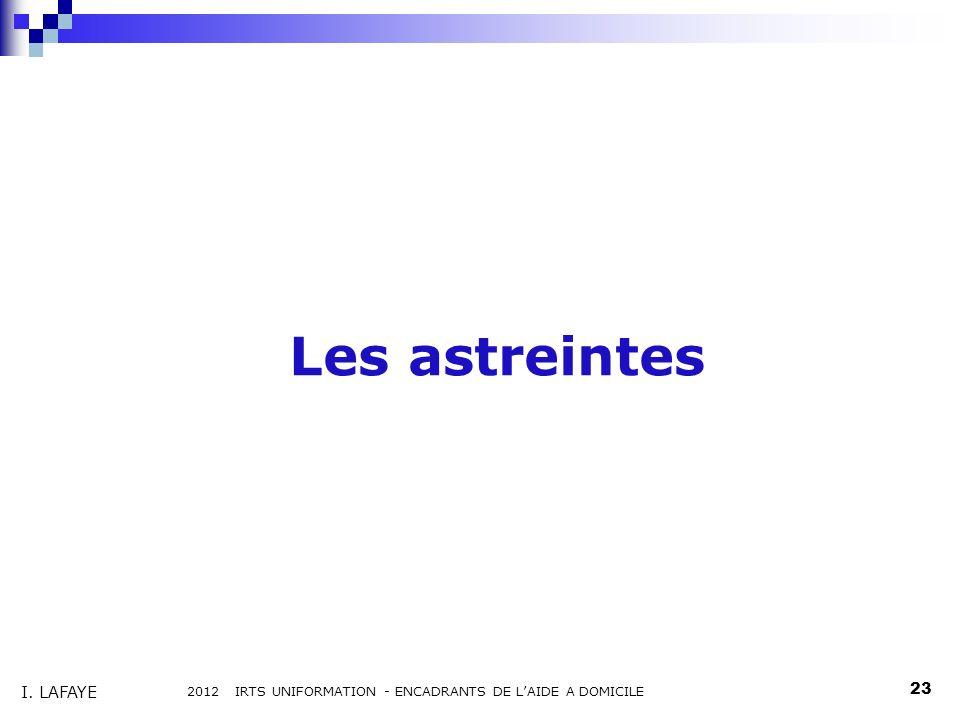 Les astreintes 2012 IRTS UNIFORMATION - ENCADRANTS DE LAIDE A DOMICILE 23 I. LAFAYE