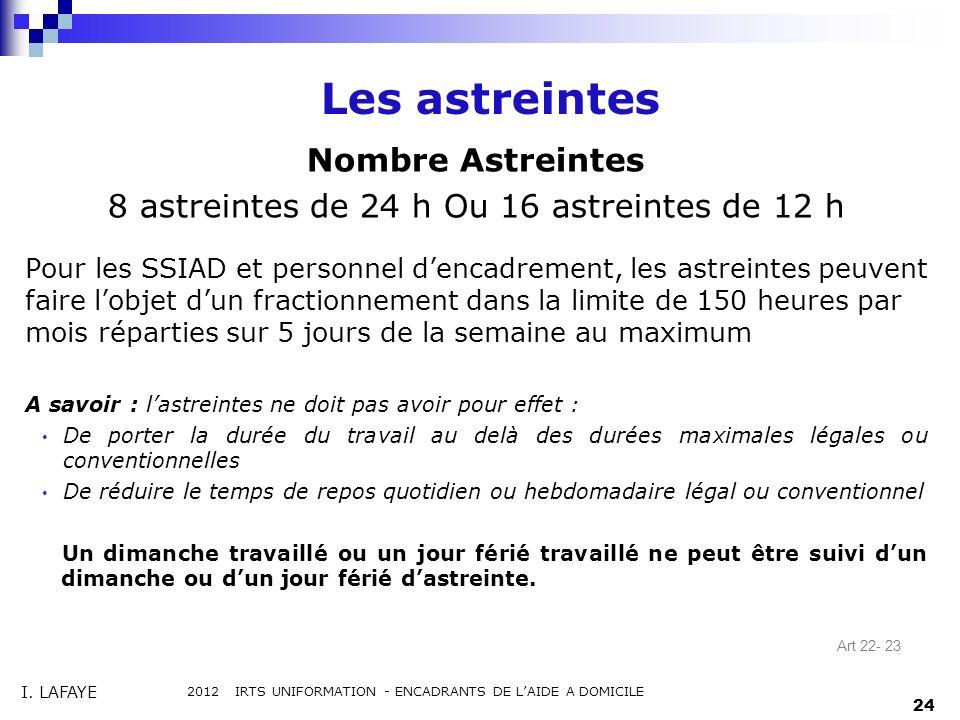 Les astreintes Nombre Astreintes 8 astreintes de 24 h Ou 16 astreintes de 12 h Pour les SSIAD et personnel dencadrement, les astreintes peuvent faire
