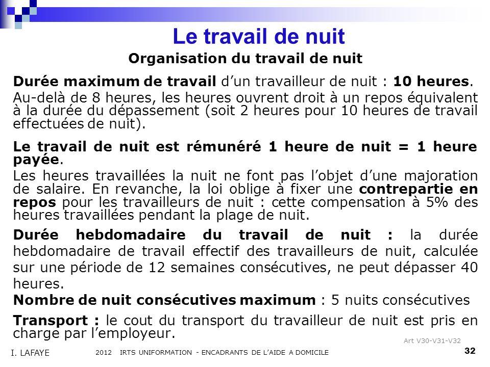 Organisation du travail de nuit Durée maximum de travail dun travailleur de nuit : 10 heures. Au-delà de 8 heures, les heures ouvrent droit à un repos
