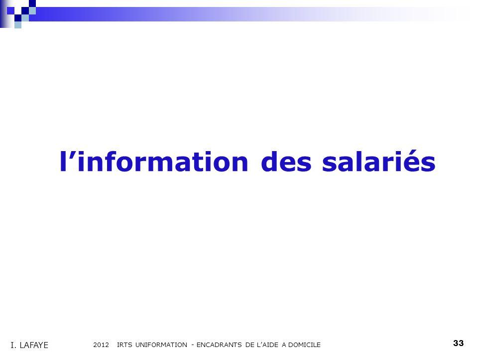 linformation des salariés 2012 IRTS UNIFORMATION - ENCADRANTS DE LAIDE A DOMICILE 33 I. LAFAYE