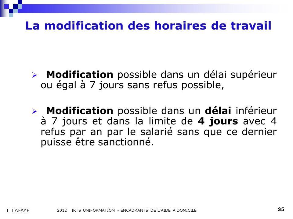 La modification des horaires de travail des salariés Modification possible dans un délai supérieur ou égal à 7 jours sans refus possible, Modification