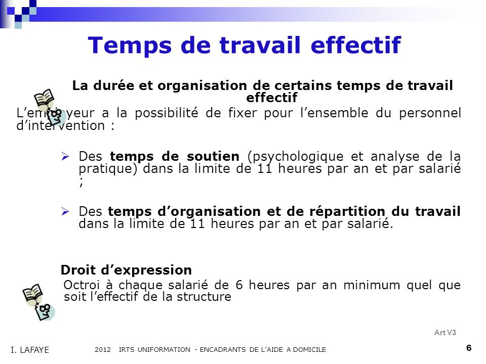 Temps de travail effectif La durée et organisation de certains temps de travail effectif Lemployeur a la possibilité de fixer pour lensemble du person