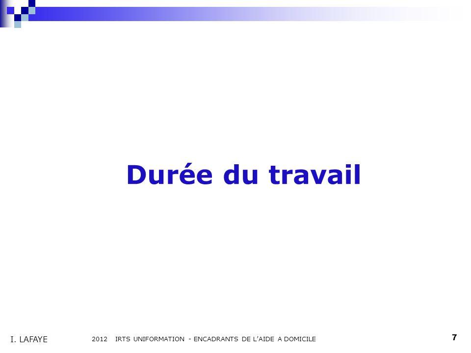 Durée du travail 2012 IRTS UNIFORMATION - ENCADRANTS DE LAIDE A DOMICILE 7 I. LAFAYE