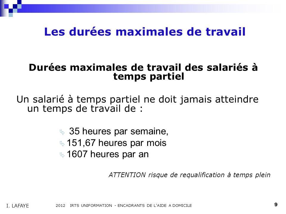 Les durées maximales de travail Durées maximales de travail des salariés à temps partiel Un salarié à temps partiel ne doit jamais atteindre un temps