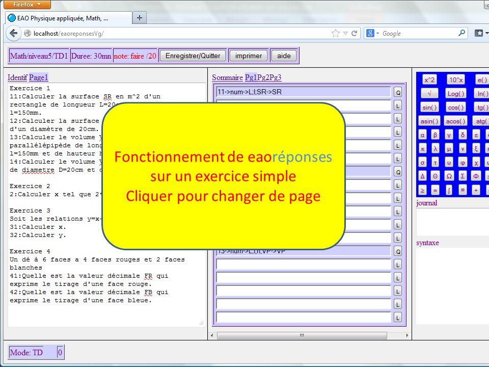 Fonctionnement de eaoréponses sur un exercice simple Cliquer pour changer de page