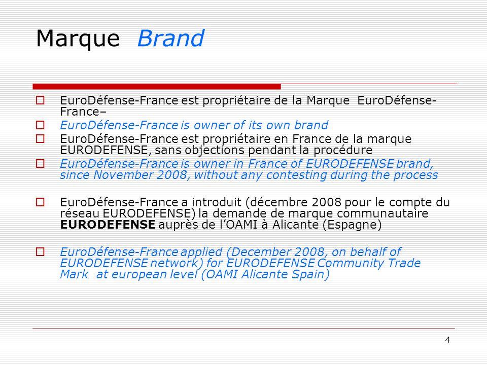 4 Marque Brand EuroDéfense-France est propriétaire de la Marque EuroDéfense- France– EuroDéfense-France is owner of its own brand EuroDéfense-France e