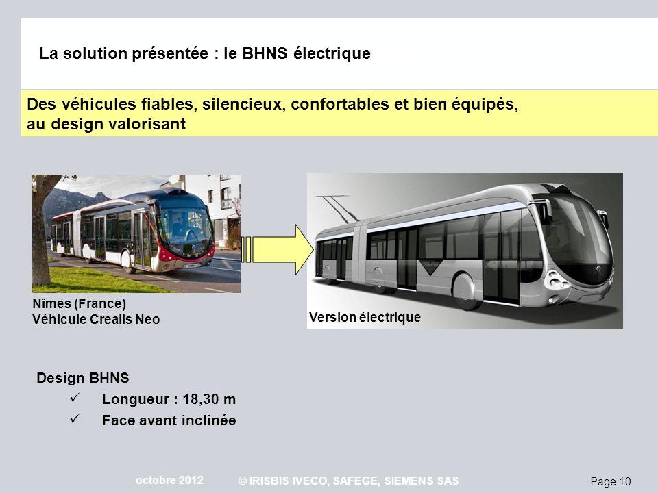 Page 10 octobre 2012 © IRISBIS IVECO, SAFEGE, SIEMENS SAS Nîmes (France) Véhicule Crealis Neo La solution présentée : le BHNS électrique Version élect