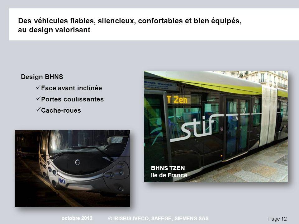 Page 12 octobre 2012 © IRISBIS IVECO, SAFEGE, SIEMENS SAS Des véhicules fiables, silencieux, confortables et bien équipés, au design valorisant Design
