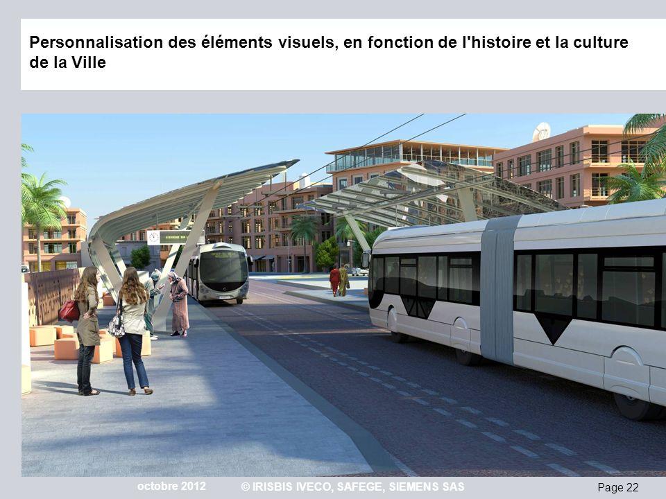Page 22 octobre 2012 © IRISBIS IVECO, SAFEGE, SIEMENS SAS Personnalisation des éléments visuels, en fonction de l'histoire et la culture de la Ville