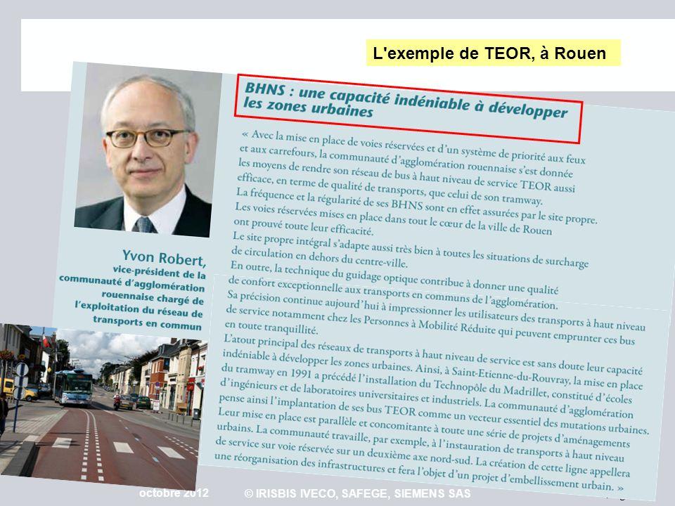 Page 30 octobre 2012 © IRISBIS IVECO, SAFEGE, SIEMENS SAS L'exemple de TEOR, à Rouen