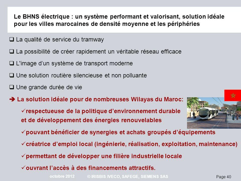 Page 40 octobre 2012 © IRISBIS IVECO, SAFEGE, SIEMENS SAS Le BHNS électrique : un système performant et valorisant, solution idéale pour les villes ma