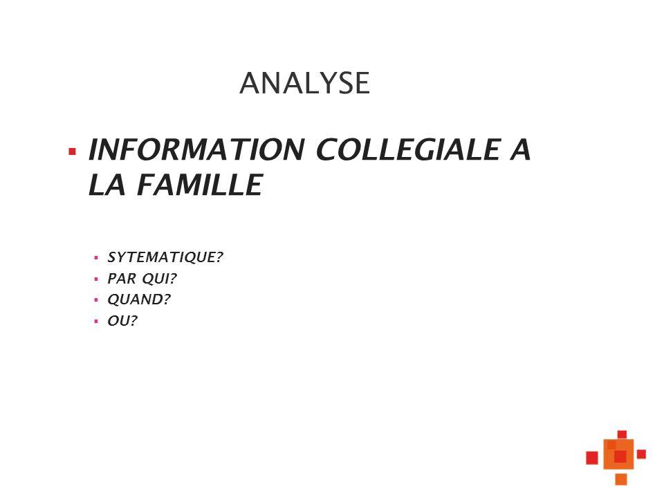 ANALYSE INFORMATION COLLEGIALE A LA FAMILLE SYTEMATIQUE? PAR QUI? QUAND? OU?