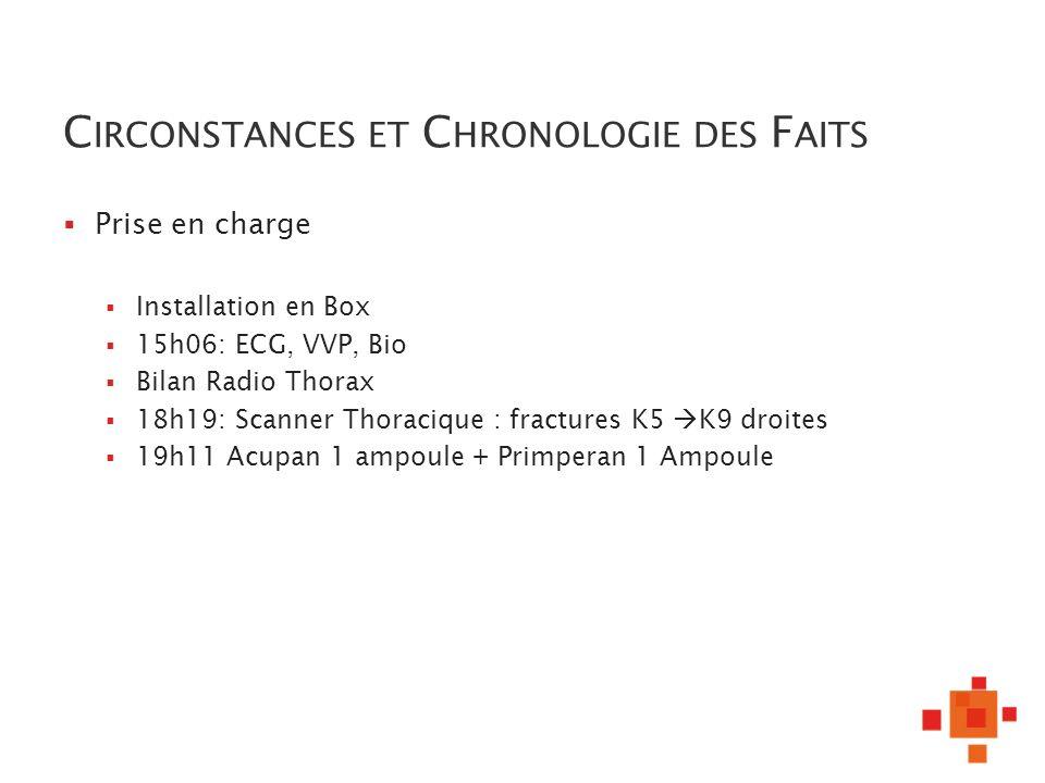 C IRCONSTANCES ET C HRONOLOGIE DES F AITS Prise en charge Installation en Box 15h06: ECG, VVP, Bio Bilan Radio Thorax 18h19: Scanner Thoracique : frac