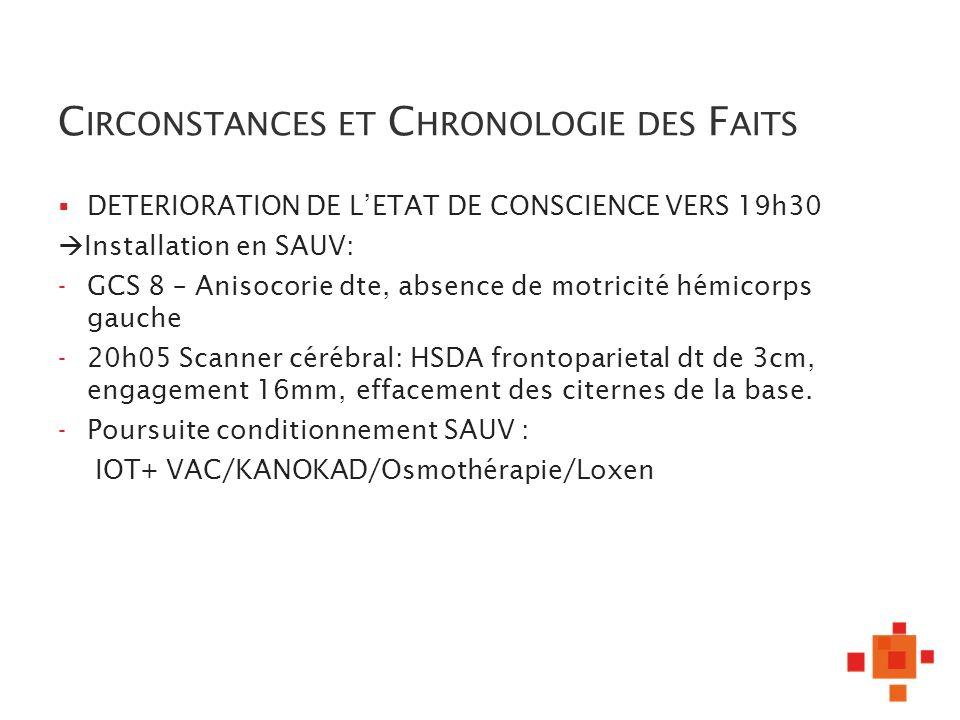 C IRCONSTANCES ET C HRONOLOGIE DES F AITS DETERIORATION DE LETAT DE CONSCIENCE VERS 19h30 Installation en SAUV: - GCS 8 – Anisocorie dte, absence de m