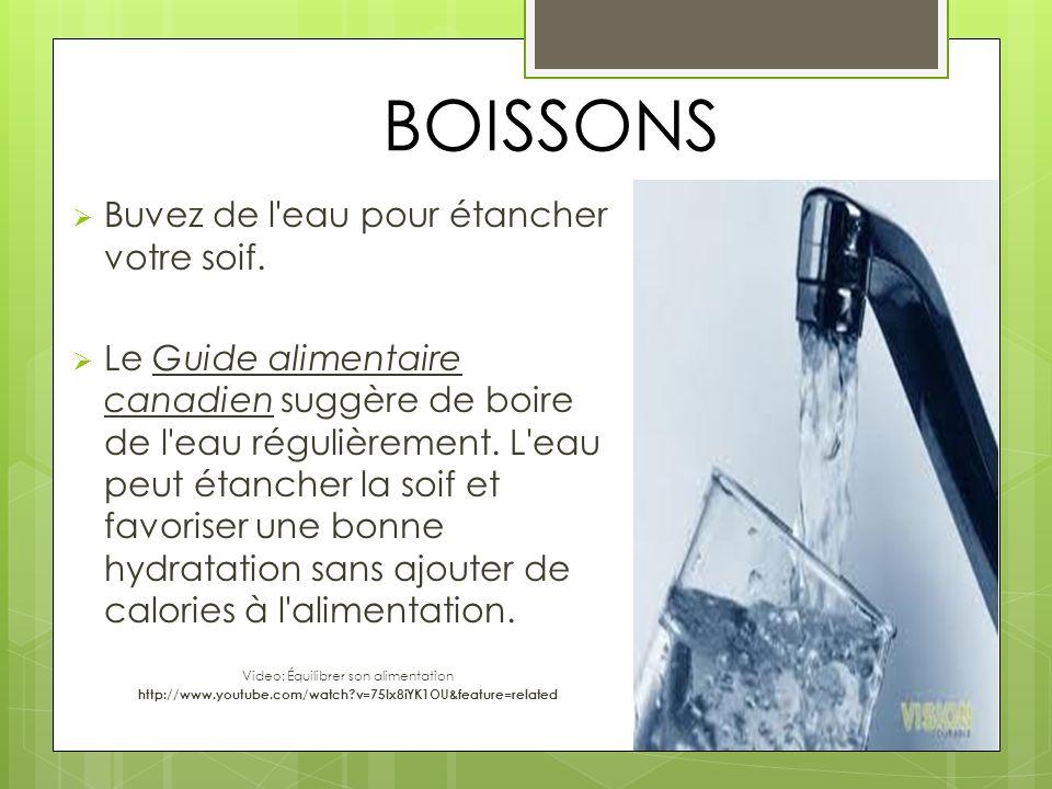 BOISSONS Buvez de l'eau pour étancher votre soif. Le Guide alimentaire canadien suggère de boire de l'eau régulièrement. L'eau peut étancher la soif e