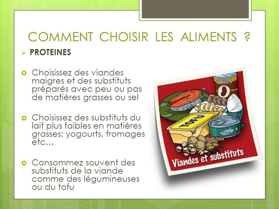COMMENT CHOISIR LES ALIMENTS ? PROTEINES Choisissez des viandes maigres et des substituts préparés avec peu ou pas de matières grasses ou sel Choisiss