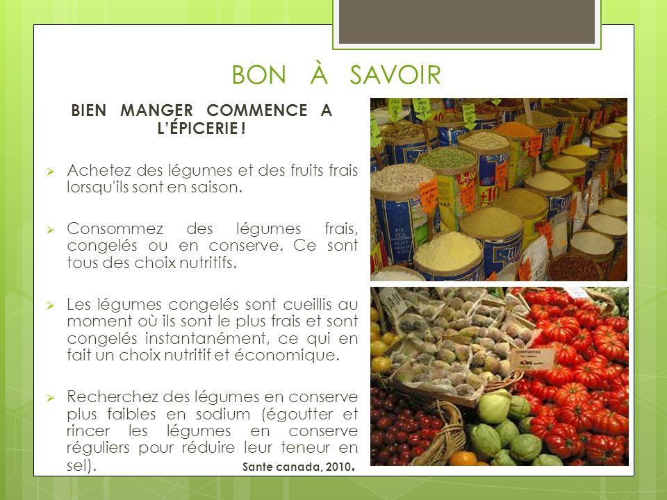 BON À SAVOIR BIEN MANGER COMMENCE A LÉPICERIE ! Achetez des légumes et des fruits frais lorsqu'ils sont en saison. Consommez des légumes frais, congel