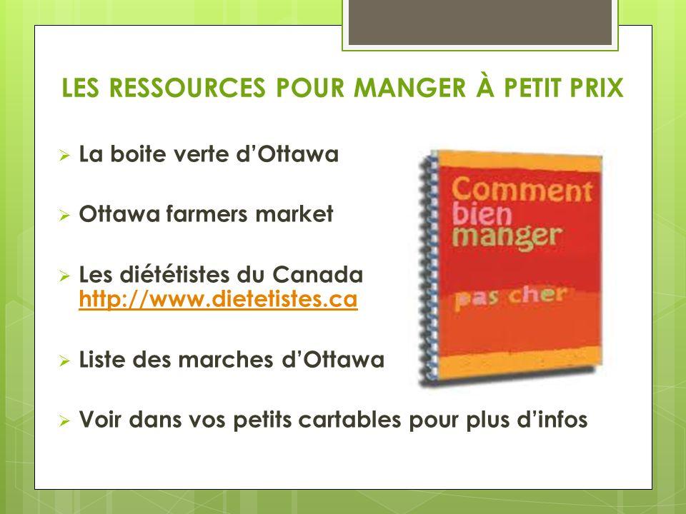 LES RESSOURCES POUR MANGER À PETIT PRIX La boite verte dOttawa Ottawa farmers market Les diététistes du Canada http://www.dietetistes.ca http://www.dietetistes.ca Liste des marches dOttawa Voir dans vos petits cartables pour plus dinfos
