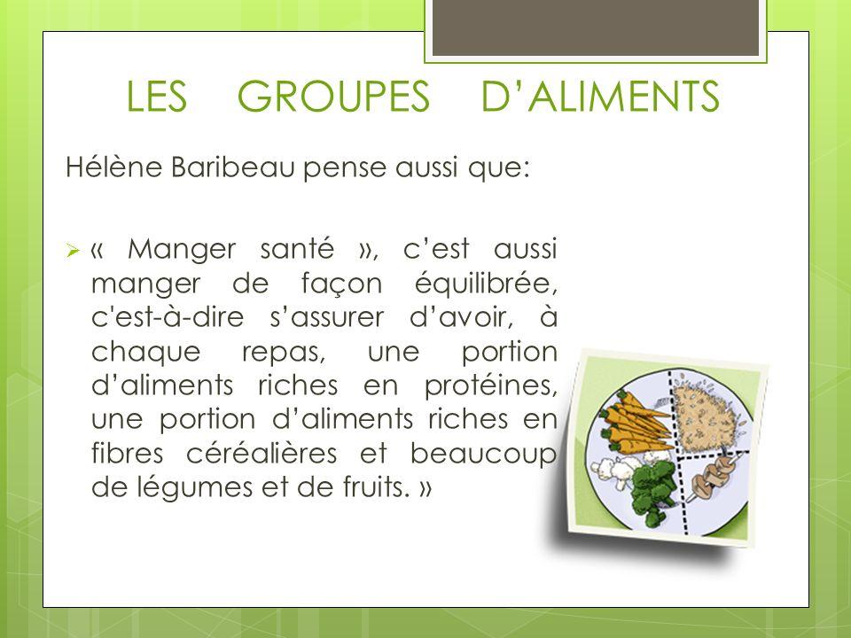 LES GROUPES DALIMENTS Hélène Baribeau pense aussi que: « Manger santé », cest aussi manger de façon équilibrée, c est-à-dire sassurer davoir, à chaque repas, une portion daliments riches en protéines, une portion daliments riches en fibres céréalières et beaucoup de légumes et de fruits.